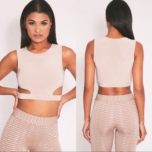 Pretty  little thing Slinky Cut Out Crop Top Cream